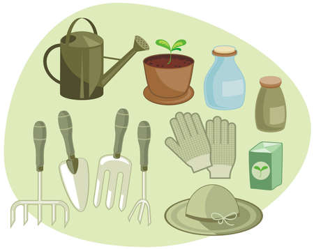 Home gardening set with tools and accessories Vector
