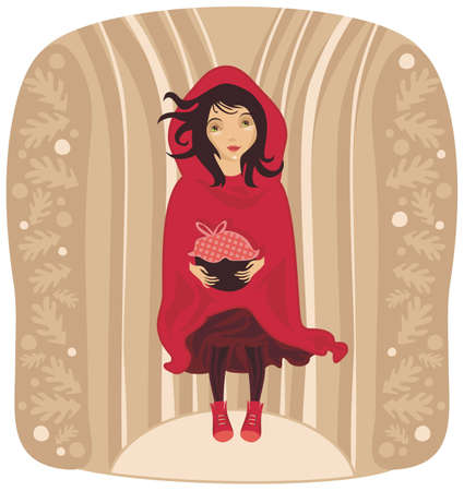 Red Riding Hood with decorative oaks background Vector