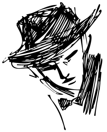 Sketched illustration of a mysterious man with hat Vector
