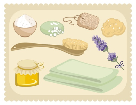 sponges: Bath set with organic skin care products Illustration