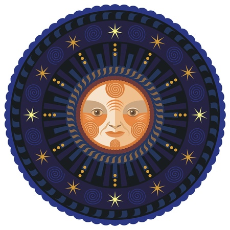 Concentric decorative illustration of the moon by night Vector