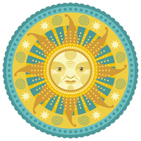 solstice: Concentric decorative illustration of the sun and daylight