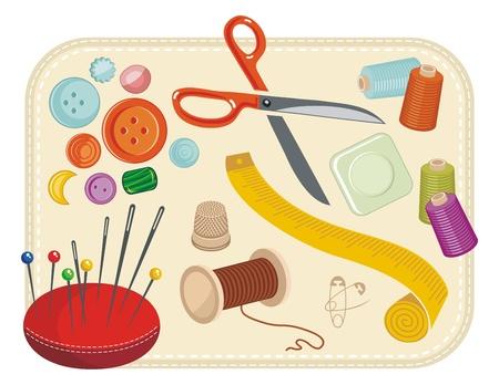 Nähen mit verschiedenen Werkzeugen und Zubehör-Set