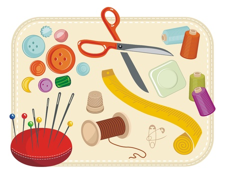 needle cushion: Sewing set with various tools and accessories Illustration