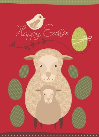 paschal lamb: Easter greeting card with sheep and lamb Illustration