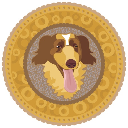 dog food: Concentric decorative medallion with happy dog
