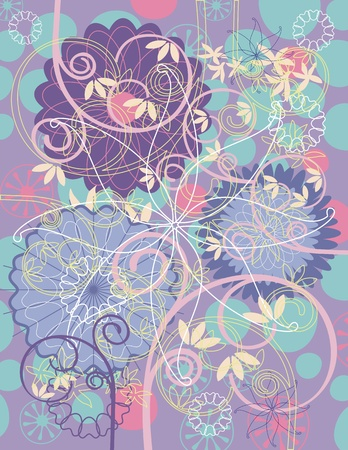 Greeting card background with various floral elements Illustration