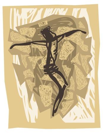 pasqua cristiana: Ges� crocifisso Vettoriali
