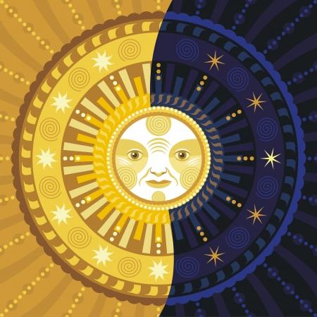 astrologie: Dekorative Darstellung der Tag und Nacht