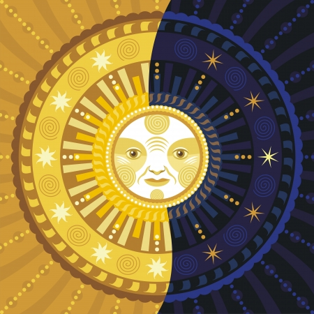 sol y luna: Ilustración decorativa del día y la noche
