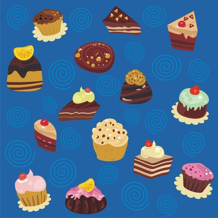 Seamless pattern with various pastries and confectioneries