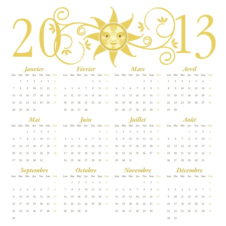 Calendario franc�s de 2013, con cabecera decorativa Foto de archivo - 12995270
