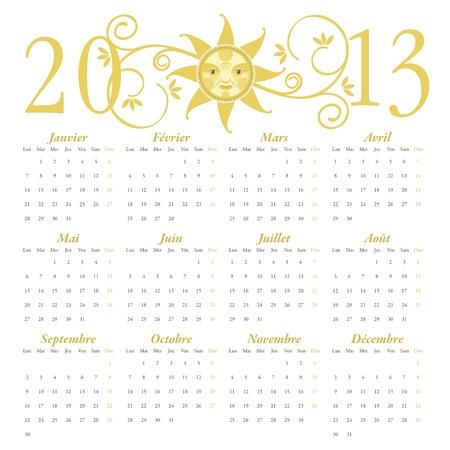 Calendario francés de 2013, con cabecera decorativa Foto de archivo - 12995270