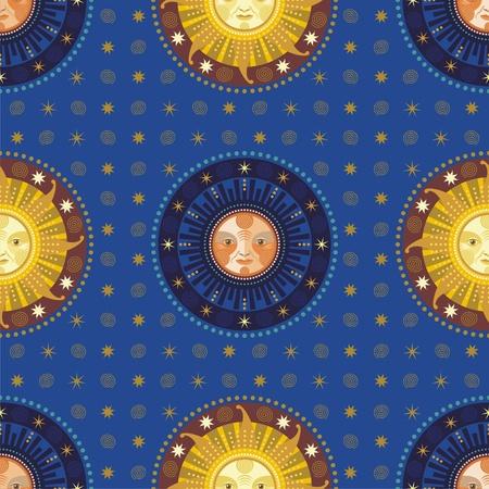 sonne mond und sterne: Jahrgang nahtlose Muster mit dekorativen Elementen Himmelskörper