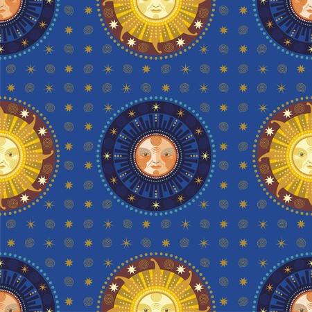 Vintage seamless pattern with decorative celestial elements Vector