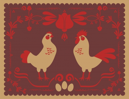 Hen and rooster with traditional decorative elements Illustration