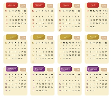 Classic calendar for year 2013 with tabs Vector