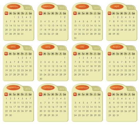 Calendar for year 2013 in tabbed style