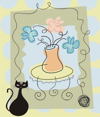 natura morta con fiori: Ancora sfondo la vita con fiori e gatto