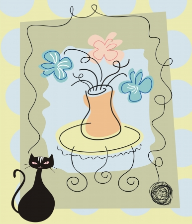 yarn: Still life background with flowers and cat