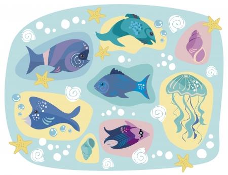 Decorative set of various marine animals Stock Vector - 13639943