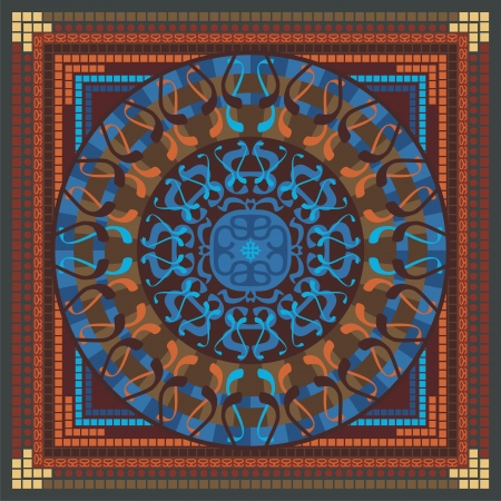 sacred symbol: Concentric spiritual mandala pattern with abstract elements Illustration