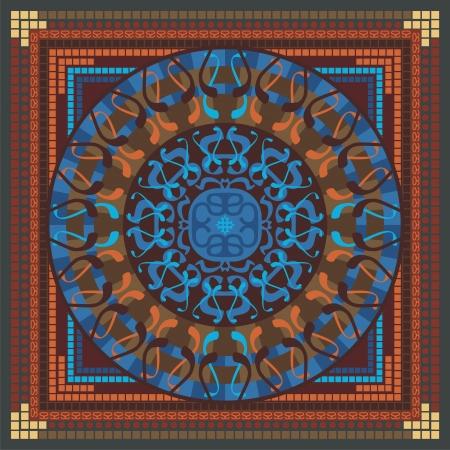Concentric spiritual mandala pattern with abstract elements Ilustração