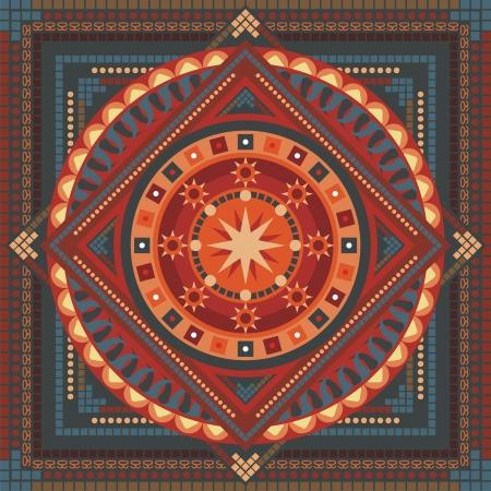 circulos concentricos: Concéntrica espiritual patrón de mandala con elementos abstractos