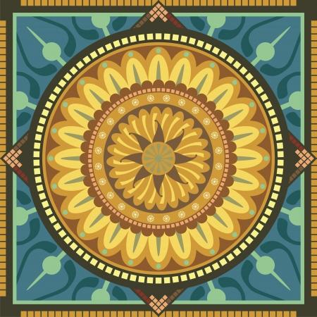 曼陀羅: 花の要素を持つ同心円の精神的なマンダラ パターン