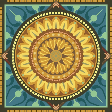 labyrinth: Concentric spiritual mandala pattern with floral elements