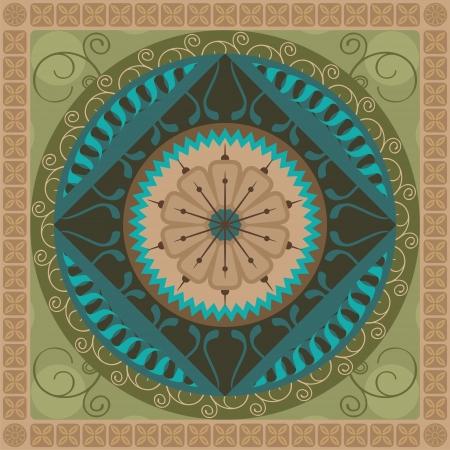 曼陀羅: 植物の要素を持つ同心円の精神的なマンダラ パターン
