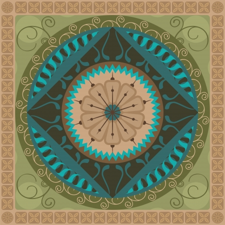 Concentric spiritual mandala pattern with vegetal elements Vector