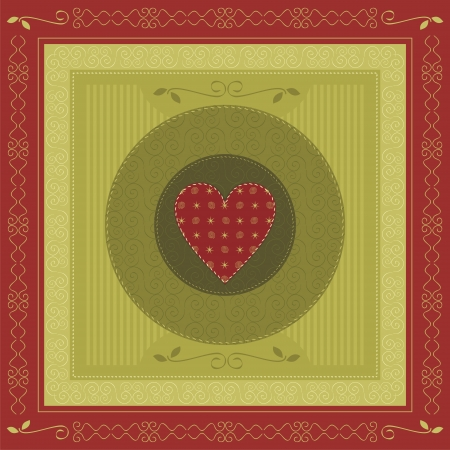 Greeting card with heart and decorative elements Vector