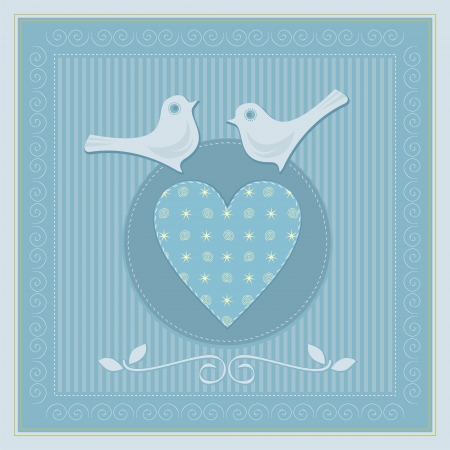 Wedding card with doves and decorative elements Vector