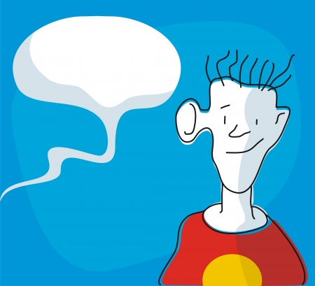 Funny cartoon of a boy listening to some nearby chatters