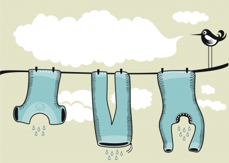 drying: Background scene with drying clothes, clouds and speaking bird