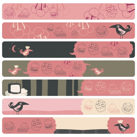 Cute banner backgrounds set with confectionery theme