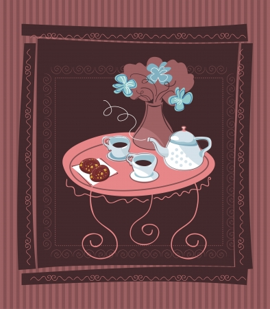 happy couple at home: Table for two background with flowers and cinnamon rolls Illustration