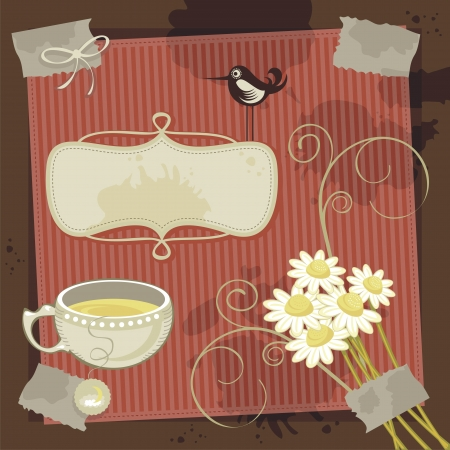 chamomile tea: Vintage, chamomile theme background with space for your message Illustration