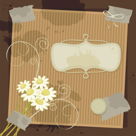 camomile tea: Vintage cover background with blank labels Illustration