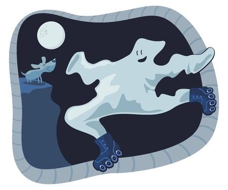 Ghost roller skating in the night of Halloween Ilustração