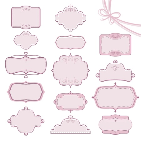 Collection of various wedding frames with decorative elements Ilustração
