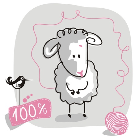 Cute doodled sheep with wool quality label Vector