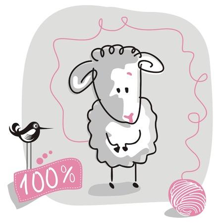 oveja: Lindo garabateado las ovejas con la etiqueta de lana de calidad