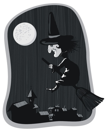 Black and white illustration of a witch on her broom Vector