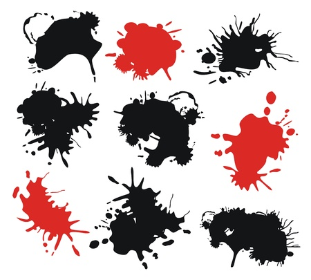 Set with red and black ink splats