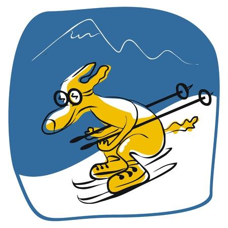 montañas caricatura: Esquí perro de dibujos animados dibujo con el fondo de la montaña