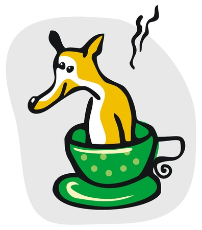 Cartoon of a dog taking his bath in cup of tea Vector
