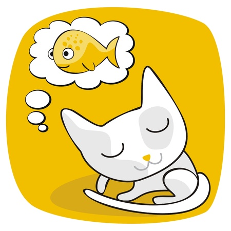 purring: Cartoon of a cat dreaming of fish