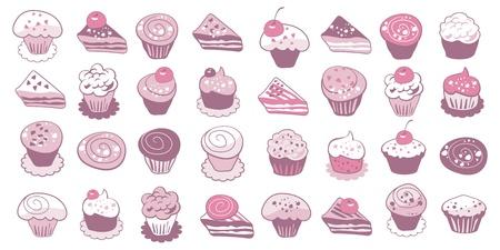 vanilla pudding: Colecci�n de las tortas y los iconos lindos pasteles